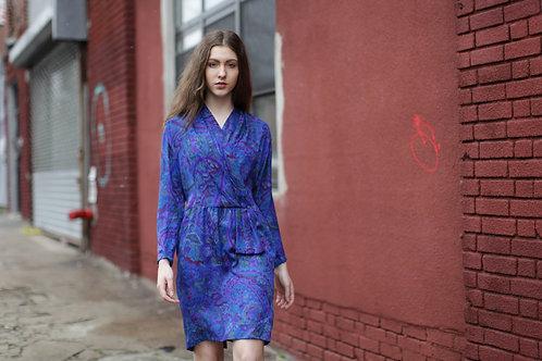 90s Silk Purple Paisley Dress