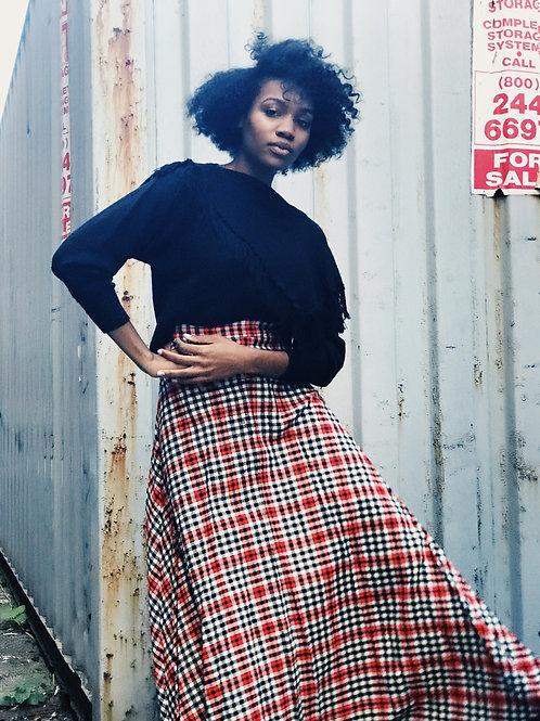 Red Plaid Maxi Skirt