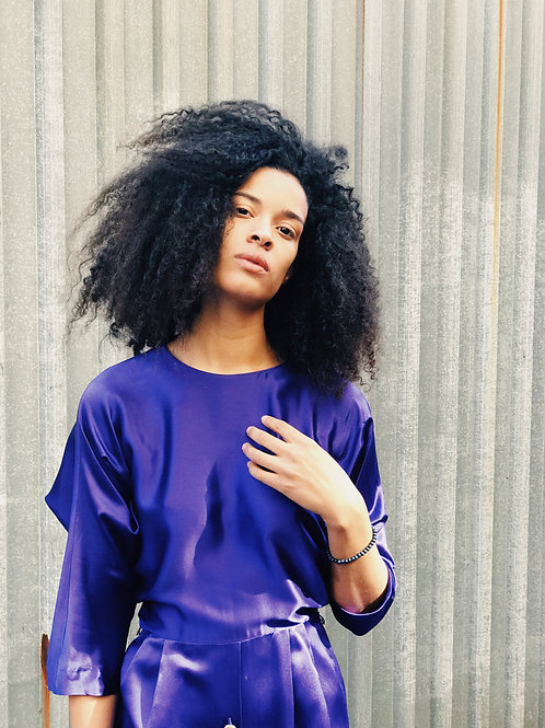 Purple silk satin button front dress