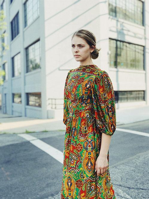 70s Paisley Print Dress