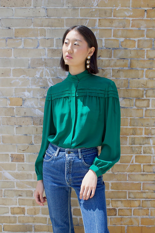 Green Silk High Neck Blouse