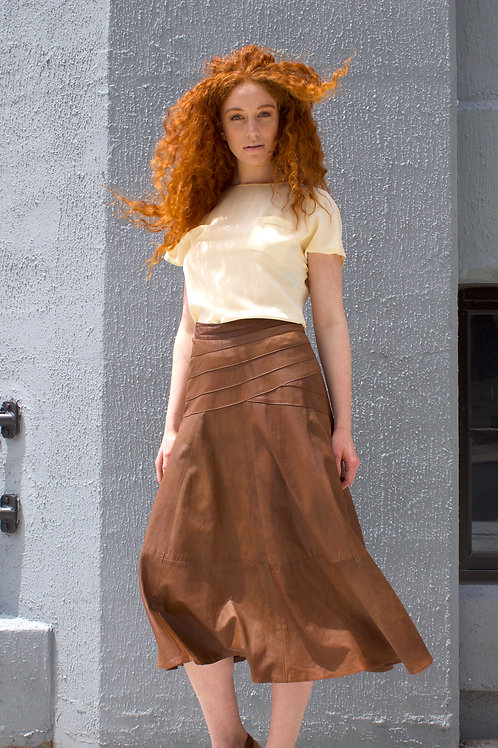 Brown Leather Flared Skirt