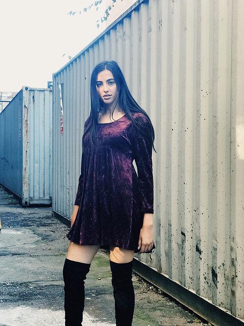 Crushed Velvet Babydoll Dress