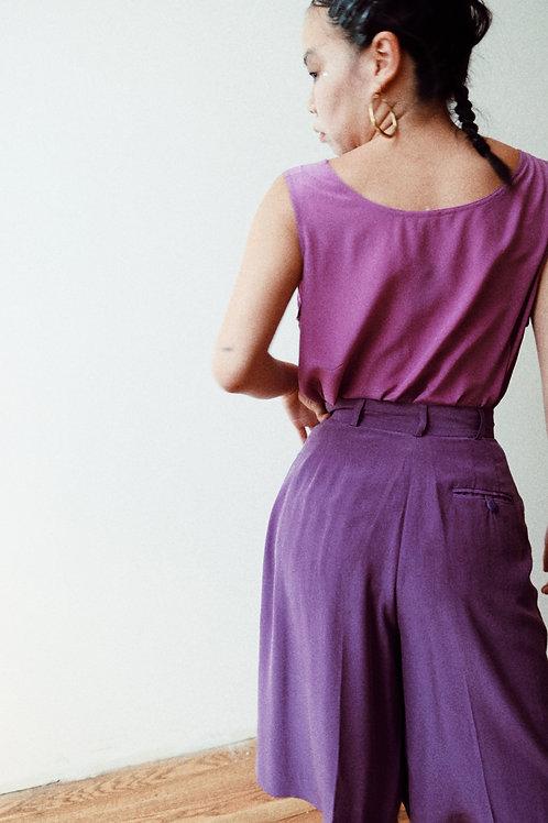 purple silk shorts