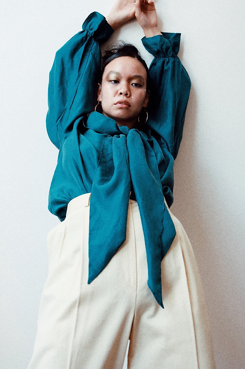 silk teal blouse w scarf neck