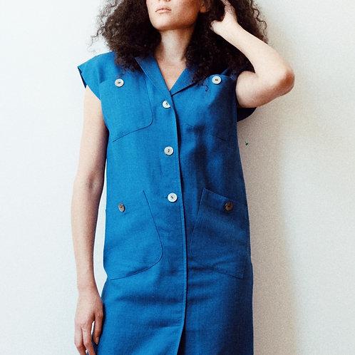 cobalt linen shift dress