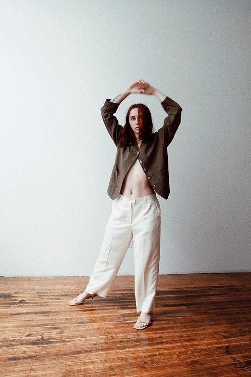 Cream Silk High-Waisted Trousers