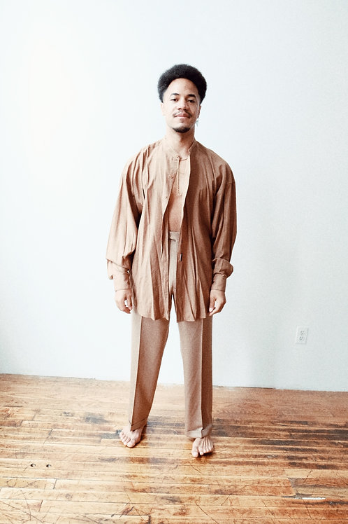 Mandarin Collar 90s Rayon Shirt