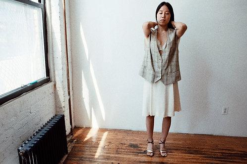 Linen Oversized Plaid Vest