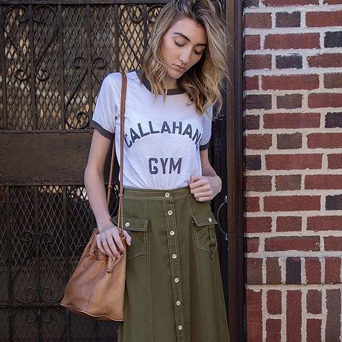 Green Button Front Skirt