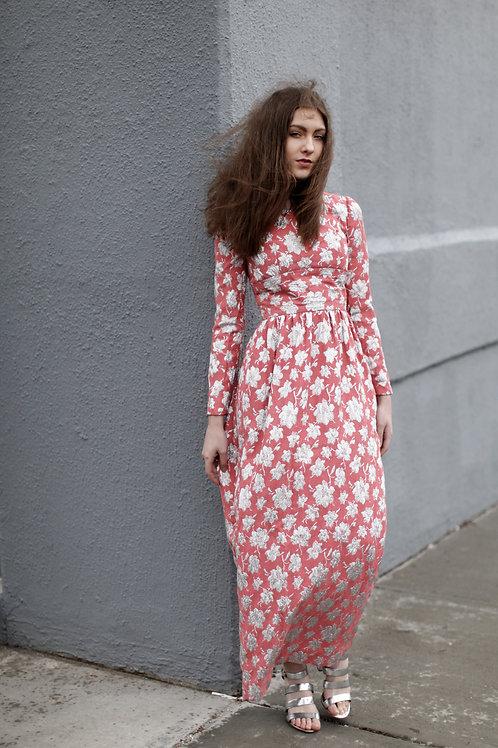 60s Pink and Metallic Brocade Dress