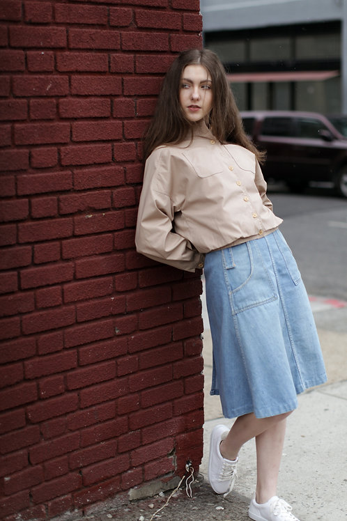 70s Wrap Denim Skirt