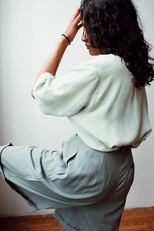 Mint Button-Front Silk Blouse