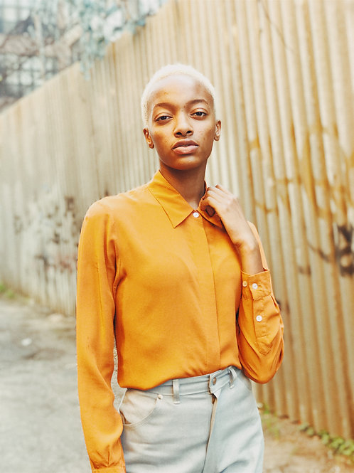 Orange Silk Blouse