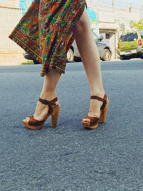 Brown Suede Platform Sandals
