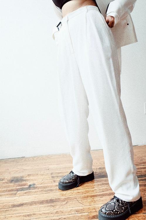 White Liz Claiborne High-Waisted Trouser