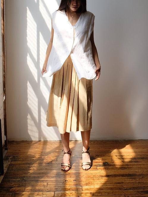 Silk Pleated Camel Skirt