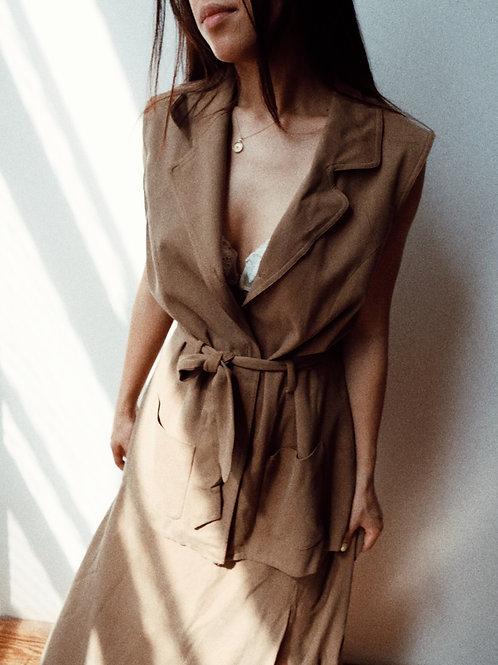 Silk Sleeveless Blazer/ Skirt Set