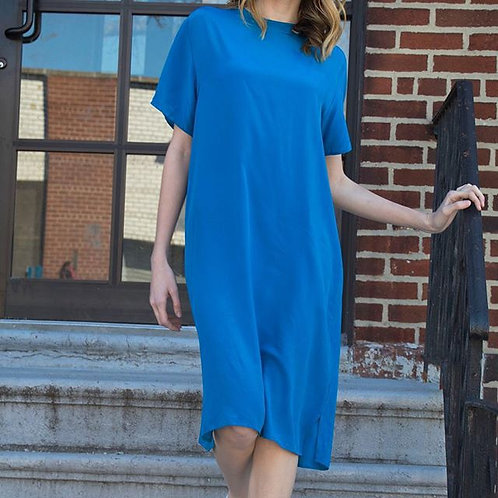 Blue Silk Shift Dress