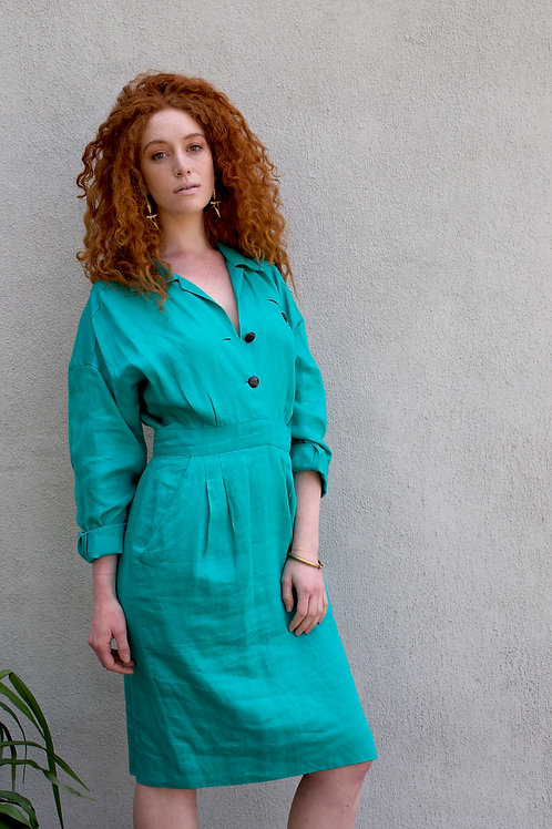 80s Teal Linen Button Dress with Pockets