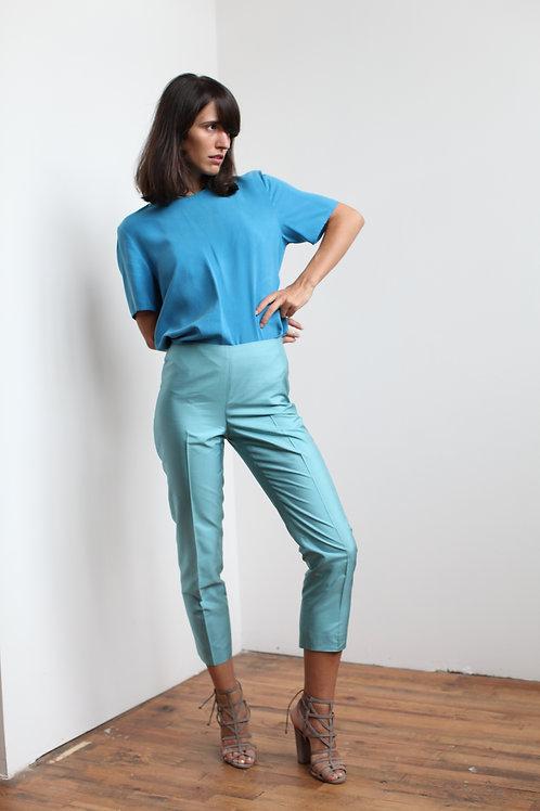 Silk Light Blue Pants