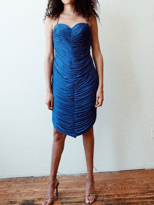 1970s silk ruched dress