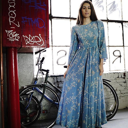 70s Blue Floral Dress