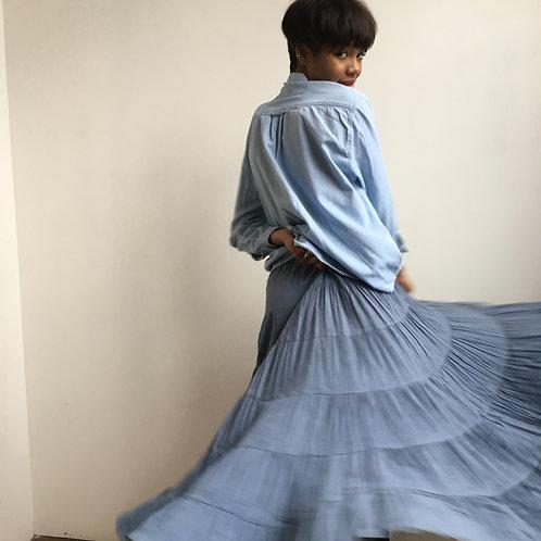 Blue Cotton Tiered Ruffle Skirt