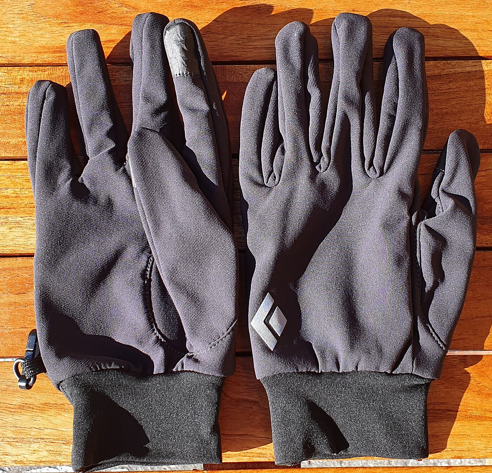 A pair of Black Diamond softshell gloves ideal for the uphill part of ski touring.