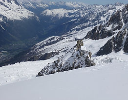 Refuge Grand Mulet from the North Face of Mont Blanc