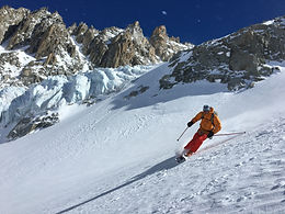 Steep Skiing next to glacier ice on the Italian Valley Blanche (the Valley Noir)