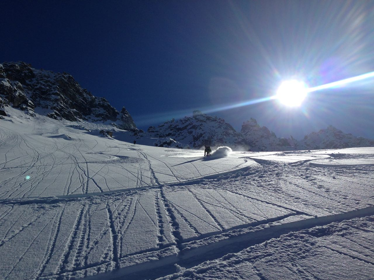 Powder skiing in the southern sun