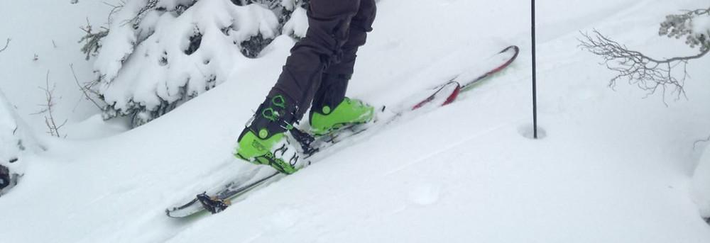 Skinning for fresh tracks on K2 skis.