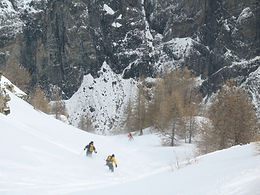 Skiing Powder into the steep couloirs of La Grave, France