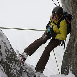 Liz Smart on a ski rappel into La Voute in La Grave, France