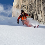 Miles Smart skiing powder in Chamonix during the Steep Skiing Camp
