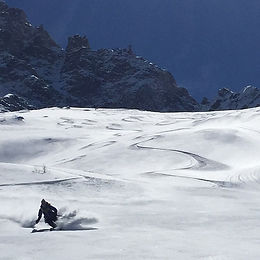 Powder skiing in Verbier, Switzerland on a Women's Steep Skiing Camp