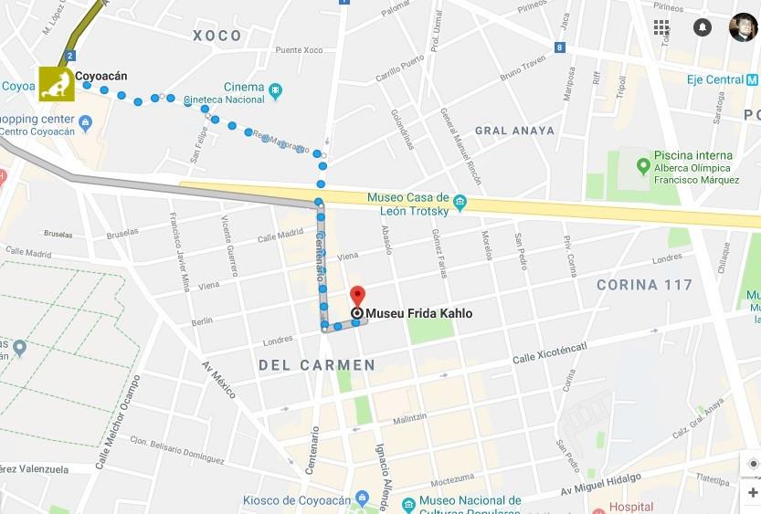 Mapa para Museu Frida Kahlo