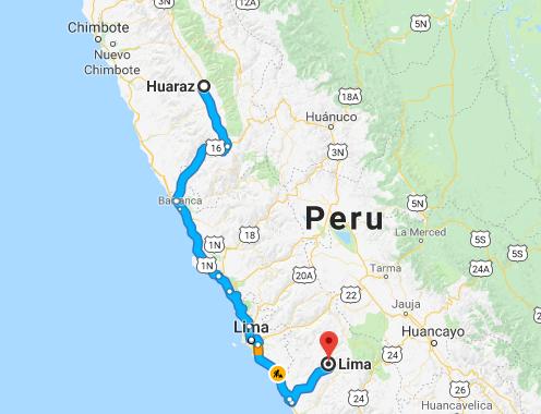 Mapa de Lima a Huaraz
