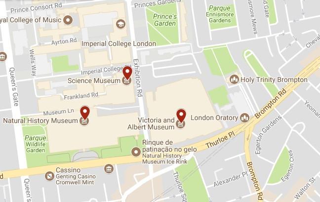 Mapa de um pedaço de Londres com indicação dos três museus.