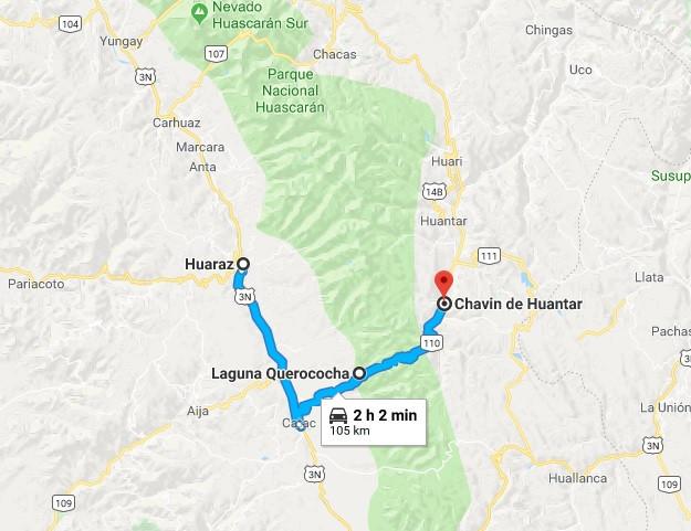Mapa Huaraz - Chavin
