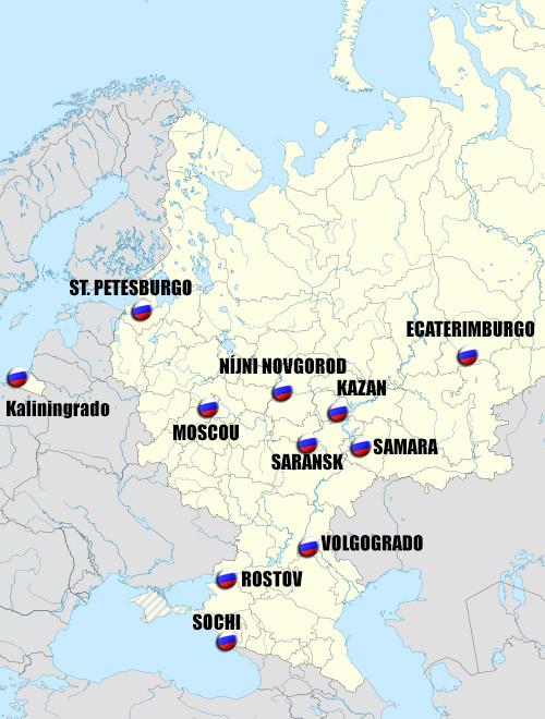 Mapa com indicação das cidades sedes da copa