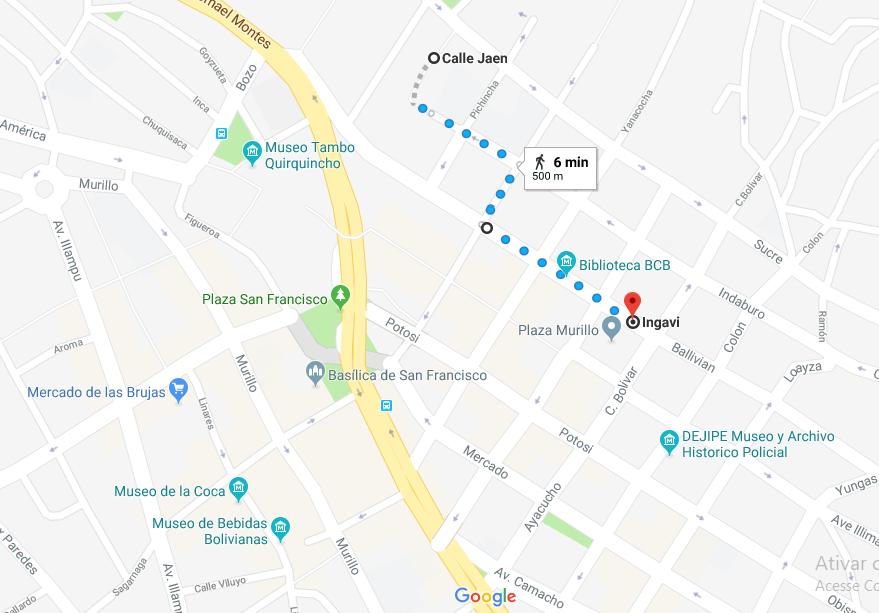 GOOGLE MAPS - Centro de La Paz. Percurso Plaza Murillo até Calle Jaen