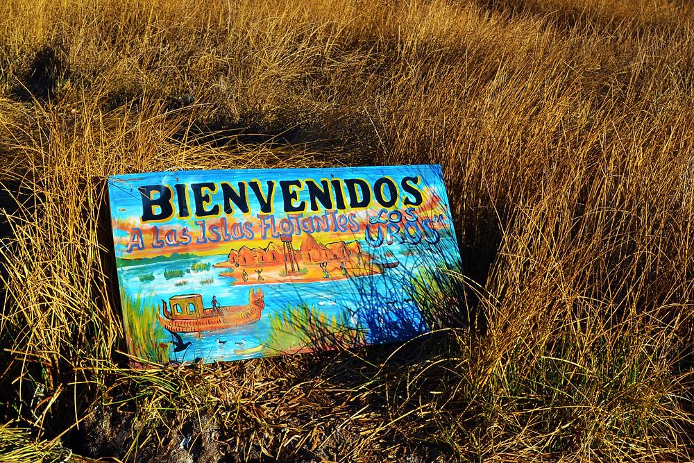 Placa Bienvenidos a Las Islas Flotantes - Los Uros