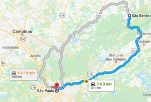 Mapa com trajeto SP - São Bento do Sapucaí