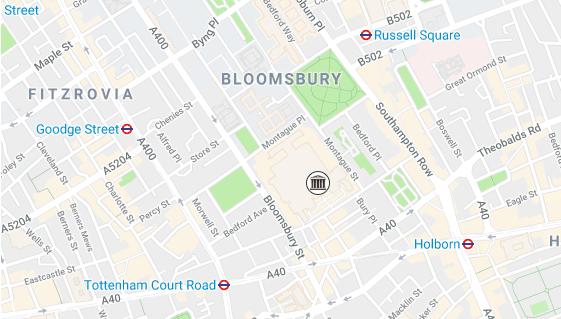 Mapa da região do British Museum