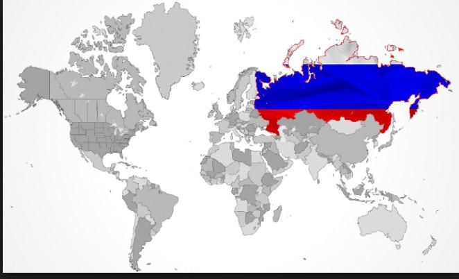 Mapa mundi com destaque para Rússia