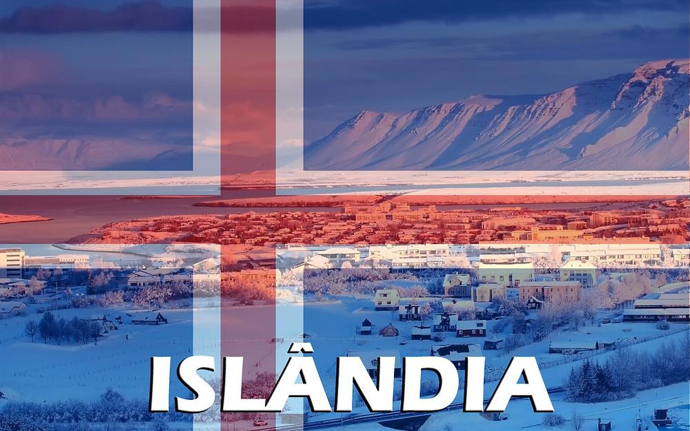 Islândia - Foto com a bandeira