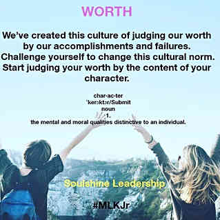 Judge your worth by the content of your