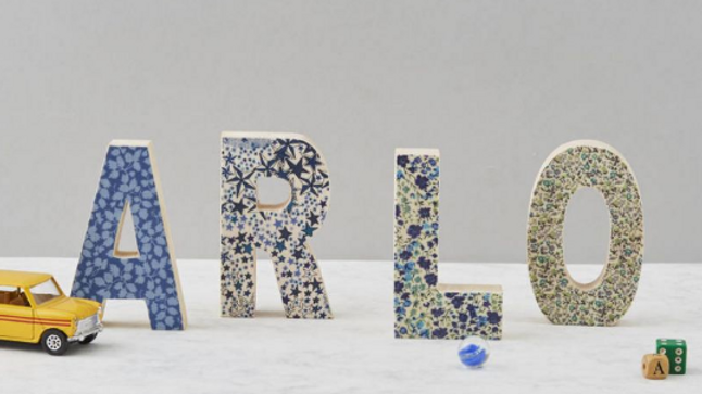 Liberty print fabric wooden letter - Blue shades